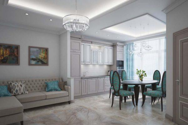 Дизайн проект двухкомнатной квартиры 59м2